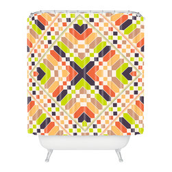 DENY Designs - Budi Kwan Retrographic Picnic Shower Curtain - A mosaic of geometric shapes in springy, retro colors gives this shower curtain designed by Budi Kwan a beautiful tiling effect. The animated, kaleidoscopic pattern is sure to liven up your space.