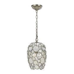 Crystorama - Crystorama 523-SA Palla Chandelier - The Palla collection, inspired by one of Dorian Webb's bracelet designs, is more elemental in nature and natural in earth tones. Palla is Italian for sphere, and the collections standout fixture is the orb-shaped design. Palla offers two hand painted finishes, one frame in an antique silver comprised of translucent white capiz shells with clear hand cut jewels, the other frame an antique gold finish accented with earth tone resin lenses with hand cut amber jewels.