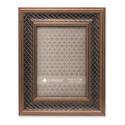 Lawrence Frames - 5x7 Haber Bronze Lattice Picture Frame - High quality burnished bronze composite picture frame with lattice embossing.  Beautifully finished picture frame that will be a great decorative addition to any room.  Comes with a two way easel for vertical or horizontal table top display, and hangers for vertical or horizontal wall mounting.  High quality black velvet backing.  Picture frame comes with glass to protect your photo, and is individually boxed.