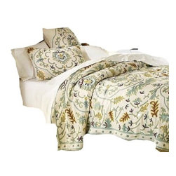 Crewel Fabric World - Crewel Bedding Medallion Sweetpine Queen Coverlet - Inspiration: Medallion is a pattern inspired by the curiosity of our designers to combine the vines with a medallion design.