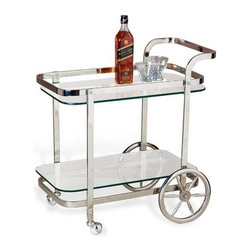 Interlude Home - Interlude Home Viggo Bar Cart - This Interlude Home Bar Cart is crafted from Metal and Glass and finished in Polished Nickel.  Overall size is:  27 in. W  x  16 in. D x 28 in. H.