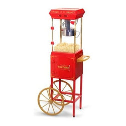 Maxi Matic USA - Popcorn Trolley Red and Gold - Elite Popcorn Trolley makes freshly popped buttered popcorn  perfect for parties. Easy to clean detachable 2.5 oz. stainless steel popping kettle. Great addition to any recreation room or home theater. Stands 4ft tall  pull down drawer allows for easy access to popcorn  includes popcorn scoop and popcorn tray. Storage cabinet with magnetic hinged door. Cord Length:  42 inches.  300 watts. Red & Gold.  This item cannot be shipped to APO/FPO addresses. Please accept our apologies.