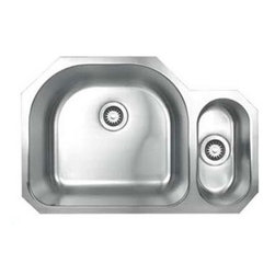 Whitehaus Collection - Whitehaus WHNDBU3121 Stainless Steel 31 Double Bowl Undermount Kitchen Sink - Compliment your kitchen looking its best with stainless steel double bowl under mount kitchen sink by Whitehaus. With this sink you will bring more functionality and additional space. The high low design features a higher disposal basin for kitchen task and a lower basin with plenty of room for large items.