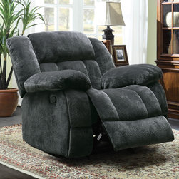 Tribecca Home - TRIBECCA HOME Mason Modern Gray Microfiber Glider Reclining Chair - This reclining chair provides comfortable seating and is a lovely way to give your home a modern update. This glider chair is upholstered in chic gray microfiber that is soft to the touch.