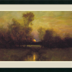 Amanti Art - Dennis Sheehan 'Summer Moonrise' Framed Art Print 42 x 31-inch - Landscape artist Dennis Sheehan paints in the Tonalist tradition, which uses light and shadow to create complex moods. The subtle gradations and movement of light in this painting aim to capture the wonder of the exact moment of moonrise.