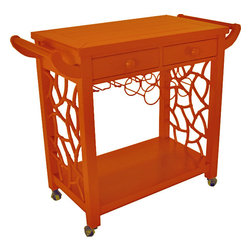 The Hostess Bar Cart - A modern and chic take on a Chinese Chippendale bar cart. This bar cart offers the ultimate in style and storage. It is custom made of plantation wood in your choice of 11 colors. Its two drawers, wine racks, and stemware racks offer great functionality as well.