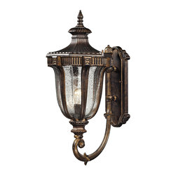 ELK Lighting - ELK Lighting 45061/1 Sturgess Castle 1 Light Outdoor Wall Lights in Regal Bronze - Highly detailed aluminum castings and a classic European style is embodied in the Sturgess Castle collection. Gracefully curved rails embrace the flowing shape of the hand-blown clear seedy glass as it opens upward into a reeded hexagonal cap. Finished in Regal Bronze.