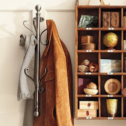 """Wall-Mount Coat Rack, Antique Silver finish - Based on an antique coat tree we saw in a Paris bistro, our wall-mounted rack holds an impressive number of coats, hats and scarves without taking up an inch of floor space. 7.5"""" wide x 6"""" deep x 28.5"""" high Made of steel and zinc alloy with a nickel finish. Catalog / Internet only."""