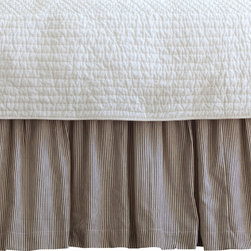 Taylor Linens - Farmhouse Stripe King Bed Skirt - Wake up to timeless ticking. Brown and cream pinstripes will look great with everything from your cottage floral pillowcases to your modern channel-stitched quilt. Made of 100 percent cotton and machine washable, the bedskirt features a hemstitched edge and gentle ruffles for rest-easy style.