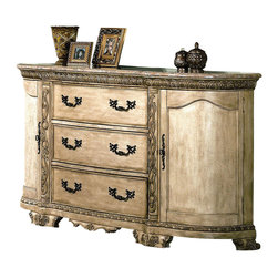 Yuan Tai - Cannes Dresser w Marble Top - Two doors. Three drawers. Intricate resin carvings. Warranty: Six months limited. Made from solid hardwood and veneers. Whitewash finish. Assembly required. 77 in. W x 22 in. D x 41 in. H (288.20 lbs.)