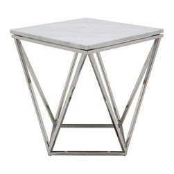 Nuevo Living - Jasmine Side Table in White Marble by Nuevo - HGTB173 - The Jasmine Side Table in White Marble features a star configured polished stainless steel base with a white marble top. This side table is sure to meat any decor need.