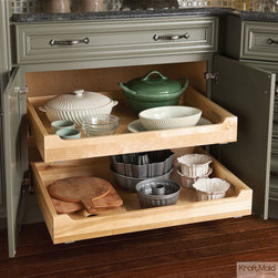 KraftMaid: Deluxe Roll-Out Tray - Give easy access to the deepest parts of your cabinets. This roll-out tray uses Whisper Touch™ technology for smooth operation and soft-close functionality.