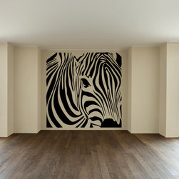 Zebra Square Wall Decal - This huge zebra wall decal mural is available in loads of colors and would make quite a focal point.