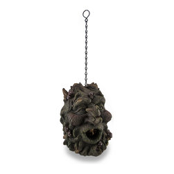 Zeckos - Sculpted Tree Spirit Highly Detailed Hanging Birdhouse - Harmoniously reflecting nature, this imaginative work of art has been expertly sculpted from cold cast resin and beautifully hand-painted in rich earth tone hues to provide your feathered friends a home This 8 inch (20 cm) high, 5.75 inch (15 cm) wide, 7 inch (18 cm) deep birdhouse has a cleverly placed entrance while a dove playfully perches on his nose It has an attached 9 inch long metal chain link hanger, so it'll easily hang from just about anywhere. Amazingly detailed from tree roots to lively eyes, this birdhouse is sure to make your backyard, garden or patio come to life