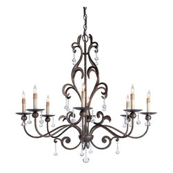 Currey and Company - Pompeii Chandelier - Bulbous crystal drops are the right accent for this fine example of the blacksmith?s craft. The unusual details of its ironwork are crafted to form a harmonious whole.