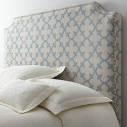 "Horchow - Lynsey King Headboard - Trim headboard with cut corners featuring scroll-pattern upholstery creates a delightful focal point for your bed. Frame made of select hardwoods. Rayon/polyester/cotton/flax upholstery. Pewter nailhead trim. Twin headboard, 55""W x 3.5""D x 56""T. Box..."