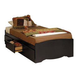 Prepac - Prepac Black Twin Mate's Platform Storage Bed with 3 Drawers - The Twin Mate's Platform Storage Bed with 3 Drawers does double duty as a bed and dresser. With three generously sized drawers for keeping your linens, blankets and clothes, this bed provides space-saving storage for even the smallest bedroom. No need for a box spring, either: its slat support system only requires a mattress. Position the drawers on either the right or left side of the bed, depending on the layout of your room, and watch your floor space grow!