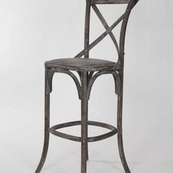 Zentique Parisienne Cafe Bar Stool In Limed Charcoal Oak - I'm always searching for ways to add some French flea market style to vintage modern rooms, and these beautiful bar stools with the slightly curved X backs are just the ticket. They are ever so farmhouse rustic yet still chic and elegant.