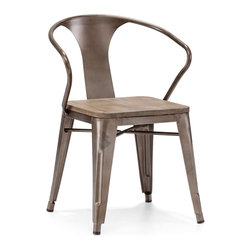 """Zuo Modern - Helix Chairs by BSEID - Add some industrial flair to a space with these rustically modern chairs. The crafted steel frame's concave back allows sit back comfort. A natural wood seat adds to its organic appeal. (ZM) 18.3"""" wide x 17.9"""" deep x 31"""" high seat width 14.9"""" seat depth 14.9"""" seat height 17.9"""" set of 2"""