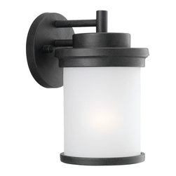 Seagull - Seagull Winnetka Outdoor Wall Mount Light Fixture in Forged Iron - Shown in picture: 88660-185 One Light Outdoor Wall Lantern in Forged Iron finish with Satin Etched Glass