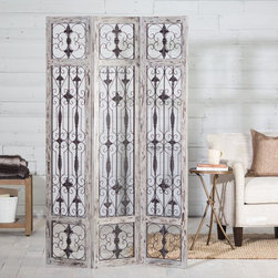 Belham Living - Belham Living Marsala Room Divider Multicolor - ZF140203 - Shop for Room Dividers from Hayneedle.com! Bring a well-traveled aura to any room with the Belham Living Marsala Room Divider. Found exclusively at Hayneedle this charming divider features a classic pattern that draws in the eye. Its three-panel design is perfect for breaking up larger spaces or accenting various aspects of your decor. There is a distressed white finish on one side with an unfinished back side giving this divider great rustic charm alongside its stunning dark bronzed iron scrollwork. Prop the divider up against a wall behind furniture or behind a bed for a gorgeous art piece or simply stand it up alone to break up a large space. This piece blends the traditional and eclectic so pair it with other worldly patterns and designs to really make your room a stand out. About Belham LivingBelham Living builds catalog-quality furniture in traditional styles at a price that actually makes sense. By listening to our customers and working closely with great manufacturers we build beautiful pieces worthy of your home. Rich wood finishes attention to detail and stylish lines that tie everything together are some of the hallmarks of a Belham Living piece. From the living room or bedroom through the kitchen and out onto the deck there's something from an incredible Belham collection perfect for your style.
