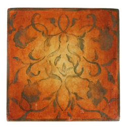 JMD Collection ~ Art Nouveau orange - JMD Collection handpainted wood tiles add a grace and artistry rarely found today. Used as stair risers, wainscoting or floor medallion these tile add a work of art to your home.