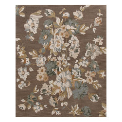 Rugsville - Rugsville Floral Patterns 11739-810 Brown Mix - Rugsville Floral rugs pure New Zealand wool material offers luxurious comfort that even the little ones would love for many years to come. Handmade in India. Common colors include brown and ivory. We recommend professional cleaning by a rug cleaner.Handmade of New Zealand wool.Washed for exceptional softness.Made in India. Imported.