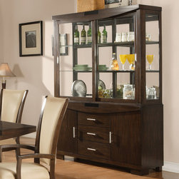 """Alpine Furniture - Beverly Dark Amber Hutch & Buffet - Beverly Dark Amber Hutch & Buffet; Dark Amber Finish; Product Material: Rubberwood Solids and Primavera Veneer; Easy Touch Lighting; Country of Origin: Vietnam; Dimensions: 61.75""""L x 19""""W x 81.25""""H"""