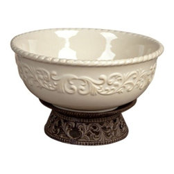 "GG Collection - The GG Collection Serving Bowl w/ Metal Pedestal 12"" - The GG Collection Serving Bowl w/ Metal Pedestal 12"""