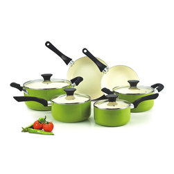 Cook N Home - Cook N Home Nonstick Ceramic Coating 10-Piece Cookware Set, Green, NC-00358 - What's in Box: 10 Piece Cookware set includes: Covered Dutch oven 5-Quart, covered casserole 3 Quart, covered sauce pan 1 Quart, covered sauce pan 2 Quart, fry pan 8 inch, fry pan 9.5 inch Fry Pan. Nonstick Ceramic coating is PTFE-Free, PFOA-Free, cadmium and lead free, compare to traditional nonstick coating system, ceramic coating provide superior non-stick performance with resistant to scratch. Cookware use thick gauge Aluminum provide super heat conductive without any Hot-spot in bottom, Anti-slip coating on handle provide a soft feeling when touch handle, make it comfortable and stay cool during cooking.