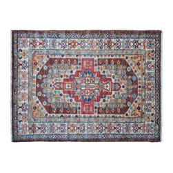 Area Rug, Chocolate Brown 4'X6' Hand Knotted Super Kazak 100% Wool Rug SH11091 - This collections consists of well known classical southwestern designs like Kazaks, Serapis, Herizs, Mamluks, Kilims, and Bokaras. These tribal motifs are very popular down in the South and especially out west.