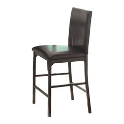 Homelegance - Homelegance Tempe Counter Height Chair in Dark Brown Bi-Cast Vinyl (Set of 4) - With a scale appropriate for any number of smaller dining spaces, the Tempe collection will provide the look and style you want in your home. The transitional feel of the group comes from the richly hued faux marble table top and the minimalistic design of the dark brown bi-cast vinyl chairs. The table and chair are constructed of metal in black finish. The collection is available in counter or traditional dining heights.