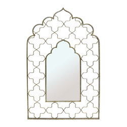 Tad- Mirror - Mirror, Moroccan Styling with Open Fret Frame and Gold Finish