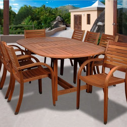 "Lamps Plus - Transitional Amazonia 9-Piece Arizona Eucalyptus Oval Dining Set - Amazonia 9-Piece Arizona Eucalyptus Oval Dining Set. Brown finish. Solid Eucalyptus wood and galvanized steel hardware. Includes free wood preservative for durability. 100-percent FSC Eucalyptus Wood. Could be used indoors or outdoors. Great functionality. From the Amazonia Arizona collection. 9 individual pieces. Includes one oval extendable table and eight stacking armchairs. Some assembly required. Oval extendable table 71-93"" wide 43"" deep 29"" high. 8 stacking armchairs 23"" wide 23"" deep 36"" high.  From the Amazonia Arizona collection.  9 individual pieces.  Includes one oval extendable table and eight stacking armchairs.  Brown finish.  Solid Eucalyptus wood and galvanized steel hardware.  Includes free wood preservative for durability.  100-percent FSC Eucalyptus Wood.  Could be used indoors or outdoors.  Great functionality.  Some assembly required.  Oval extendable table 71-93"" wide 43"" deep 29"" high.  8 stacking armchairs 23"" wide 23"" deep 36"" high."