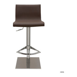 Nuevo Living - Colter Adjustable Stool, Mink - A little flexibility in a bar stool goes a long way. That's why this handsome leather and stainless steel stool is such a keeper. You can adjust it to counter height for the kitchen or use it at the bar in the games room.