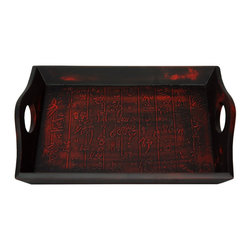 Oriental Furniture - Black Calligraphy Tray - Intricately hand-carved Chinese calligraphy makes this elegant tray a unique and beautiful piece, suitable both for decorative and practical use. Lacquered in layers of red and black to create a unique and beautiful matte patina, the tray will make a proud addition to your tabletop, desk, or bureau. Built with Philippine mahogany and elm wood, its indigenous Fujian lacquer uses seven carefully polished layers of lacquer-tree sap to create a complex, beautiful, and sturdy surface.