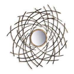 "Kathy Kuo Home - Aphrodite Modern Contemporary Decorative Convex Mirror - An organic, swirling motion is masterfully created in the interconnected metal ""branches"" which surround this antique gold framed mirror.  A distinct, modern statement for contemporary walls."