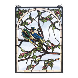 Meyda Tiffany - Meyda Tiffany Lovebirds Tiffany Window X-66974 - Two lovebirds are charmingly perched on a branch set against a soft cloudy sky blue backdrop on this Meyda Tiffany Tiffany window. From the Lovebirds Collection, the rich shades of blue and green on the birds are complimented by earthy browns and greens on the branch detailing.