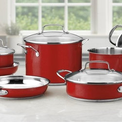 Cuisinart - Cuisinart Chefs Classic Color Series 11 pc. Cookware Set - Red - CSS-11MR - Shop for Cookware Sets from Hayneedle.com! Create your culinary inspirations while adding a stylish pop to your kitchen with the Cuisinart Chefs Classic Color Series 11 pc. Cookware Set Red. This set is crafted from premium stainless steel and features a bold red outer finish that makes a statement in any setting. Its solid cast stainless steel handles offer a Cool Grip feature that keeps them easily to handle when cooking. Tempered glass lids fit snug to seal in flavor and boast wide easy-grip handles. This set is also oven safe up to 350 degrees dishwasher safe for easy cleaning and come with a lifetime manufacturer warranty. Set Includes: 1.5-qt. sauce pan with cover 2.5-qt. sauce pan with cover 3-qt. saute pan with helper handle and cover 8-qt. stockpot with cover 8-inch skillet 10-inch skillet and 18 cm steamer insert. About CuisinartOne of the most recognized names in cookware and kitchen products Cuisinart first became popular when introduced to the public by culinary experts Julia Child and James Beard. In 1973 the Cuisinart food processor revolutionized the way we create fine food and healthy dishes and since that time Cuisinart has continued its path of innovation. Under management by the Conair Corporation since 1989 Cuisinart is a universally celebrated name in kitchens across the globe. With a full-service product line including bakeware blenders coffeemakers cookware countertop appliances kitchen tools and much much more Cuisinart products are preferred by chefs and loved by consumers for durability ease of use superior quality and style.