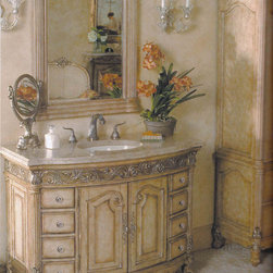 "48"" Provincial Single Bath Vanity - Light - The 48"" Provincial Medium Single Bathroom Vanity brings elegance to any powder room or bathroom. The finish is a light antique parchment with gorgeous brushed silver embellishments. This looks especially amazing underneath the Ivory Cream marble countertop, which provides ample counter space. The double door cabinet and eight drawers allow for plenty of storage and organization. To complete your graceful bathroom, faucet, mirror, and side cabinets are available separately. Balsa porcelain sink included."
