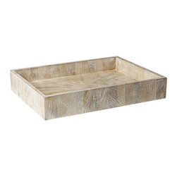 "Studio A - Driftwood Rectangular Tray - Cool and rustic, this rectangular tray's simple style makes a modern statement. With clean lines, this mango wood accessory showcases an alluring sun-bleached finish. 23.5""W x 18""D x 4""H; For decorative use only"