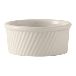 Tuxton - DuraTux 13 1/2 oz Souffle Swirl Sides Eggshell - Case of 12 - DuraTux offers the widest selection of ceramic ovenware and accessory items in the industry. Our products are designed to handle the demands of any fastpaced environment  without breaking your budget. As with our dinnerware products all our ovenware items are fully microwavesafe, ovenproof, and dishwasherfriendly. Durability and heat retention from the oven to classic beauty on the table.