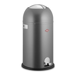 Wesco Kickmaster Trash Can, Gray - Luxe trash bins are having a moment — I mean, my in-laws just got a totally hands-free electronic version! The Wesco Kickmaster combines retro style, a crisp gray finish and the classic hands-free step-open system.