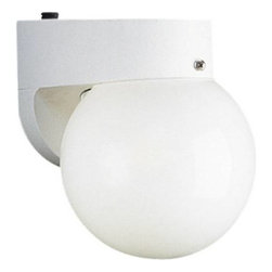 """Progress Lighting - Progress Lighting P5816-30EB 1 Light Outdoor Wall Sconce in White P5816-30EB - One-light polycarbonate lantern with photo cellBulb Type: Triple tube or spiral Collection: Non-Metallic Energy Star Energy Star Compliant: Yes Finish: White Height: 7-3 4"""" Lamp Wattage: 18W max Number of Lights: 1 Photocell: Yes Socket 1 Base: GX24q-2 Socket 1 Max Wattage: 18 Style: Functional Suggested Room Fit: Outdoor Type: Outdoor Wall Sconce Weight: 1.5 Width: 6""""{General White (-30) or black (-31) finish 6"""" acrylic globe Polycarbonate construction Energy star certified {Mounting Wall mounted outdoor Covers standard 4"""" recessed hexagonal outlet box Mounting strap for outlet box included {Electrical GX24q-2 base socket 120V NPF electronic ballast Unit will start down to 0 degrees F Integral photocell included to turn off unit during the daytime Pre-wired {Labeling UL-CUL wet location listed"""
