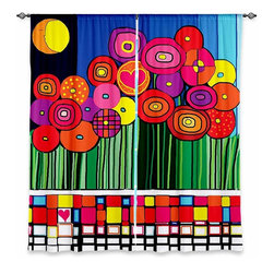 """DiaNoche Designs - Window Curtains Lined by Dora Ficher Poppy Love - Purchasing window curtains just got easier and better! Create a designer look to any of your living spaces with our decorative and unique """"Lined Window Curtains."""" Perfect for the living room, dining room or bedroom, these artistic curtains are an easy and inexpensive way to add color and style when decorating your home.  This is a woven poly material that filters outside light and creates a privacy barrier.  Each package includes two easy-to-hang, 3 inch diameter pole-pocket curtain panels.  The width listed is the total measurement of the two panels.  Curtain rod sold separately. Easy care, machine wash cold, tumble dry low, iron low if needed.  Printed in the USA."""
