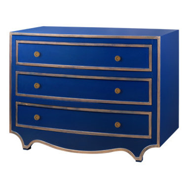Navy & Gold Lacquered Dresser Chest New -