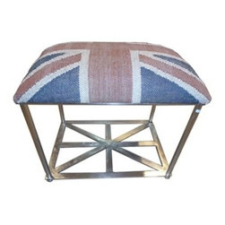 STL - Union Jack Stool - If you're looking for a stool that's both traditional and modern, take a look at this union, Jack. The sleek base is finished in antique nickel with a crisscross design that's worthy of some flag waving. Upholstered in wool jute, the seat is soft enough to put a smile under your stiff upper lip.