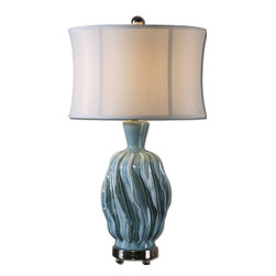 Uttermost - Amoroso Blue Ceramic Lamp - This faded, blue ceramic lamp will send stylish swirls through the room. A unique rippled waves design and the polished nickel foot give this table lamp a modern vibe without going over the top. And speaking of tops, how about that sensational tapered drum shade!
