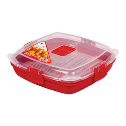 Sistema Klip It Small Microwave Plate - The perfect solution for storing pre-prepared dinners or leftovers in the freezer for quick meals. There's no need to defrost  simply open the steam vent on the lid and pop in the microwave. Use the steaming rack for steam cooking vegetables  fish and poultry in the microwave. Product Features                      Capacity - 440ml  14.8 oz  1.9 cups          Microwave safe with top vent open          Dishwasher safe - top rack          Freezer safe          Stackable