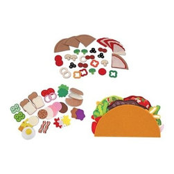 "Melissa and Doug Play Felt Food Set - Give your child everything they need to open their own restaurant at home with the Melissa and Doug Play Felt Food Set. This set includes the sandwich pizza and taco felt food sets. Each set comes with a variety of different foods and toppings that can be mixed with other sets as well as with the set they come from. Your children will spend hours coming up with different creations to serve you and their friends and will love the freedom and imaginative play that comes from this set. Each felt piece is beautifully detailed to help make the experience even more real. Get ready to enjoy sandwich tacos and cookie pizzas as your children put their cooking skills to the test. About Melissa & Doug ToysSince 1988 Melissa & Doug have grown into a beloved children's product company. They're known for their quality educational toys and items and have grown in double digits annually. The Melissa & Doug company has been named Vendor of the Year by such great retailers as FAO Schwarz Toys R Us and Learning Express and their toys have been honored as """"Toys of the Year"""" by Child Magazine FamilyFun Magazine and Parenting Magazine. Melissa & Doug - caring quality children's products."